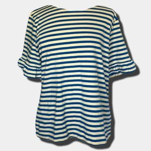 J Crew Striped Top with Double Ruffled Sleeves